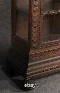 Late 1700s Era Italian Carved Oak Figural China Cabinet Vitrine Bookcase Rare