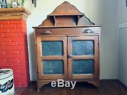 Late 1800's Antique Primitive Pie Safe Punched Tin Cabinet Cupboard