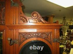Late 1800's English Oak Victorian Edwardian Carved Hall Tree Umbrella Stand