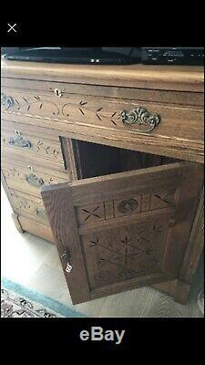 Late 1800's Golden Oak Eastlake Style Washstand Or Chest. Fabulous