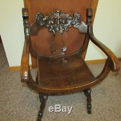 Late 1800s Antique Stomps Burkhardt Northwind Carved Face Gothic Wood Arm Chair