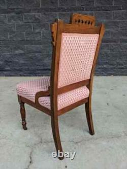 Late 1800s Antique Walnut Eastlake Accent Side Chair w Pink Feather Motif