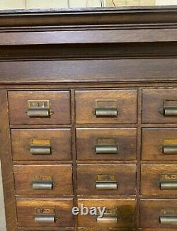 Late 1800s Apothecary Card Catalog Wood Cabinet