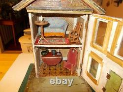 Late 1800s Early 1900s Gutter Reed American Lithograph Dollhouse With Furnitur