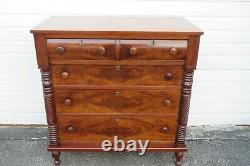 Late 1800s Empire Cherry and Flame Mahogany Chest of Drawers 1237