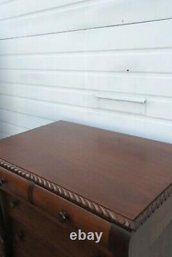 Late 1800s Empire Hand Carved Mahogany Tall Chest of Drawers 1747