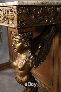 Late 1800s Era Egyptian Revival Gilded Carved Figural Marble Top Console Table
