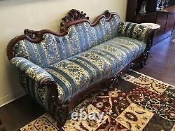 Late 1800s Flamed Mahogany Victorian Sofa