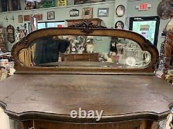 Late 1800s Tiger Oak Curved Front Curio/ China cabinet. Unique Size. STUNNING