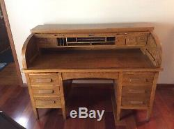 Late 1890s Quarter Sawn Oak Roll top desk