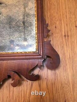 Late 18th C Chippendale Mahogany Mirror Gilt Eagle Original Mirror / Backboard