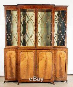 Late 18th Century English Regency Mahogany Breakfront Bookcase