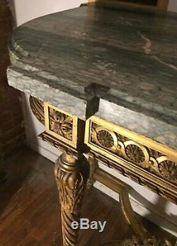 Late 18th Century Gilt Wood And Marble Console