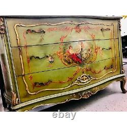 Late 18th Century Italian Hand Painted Green Chest