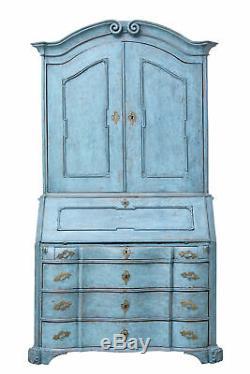 Late 18th Century Swedish Oak Painted Bureau Bookcase