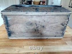 Late 18th-Early 19th century leather trunk with brass tacks & name plate