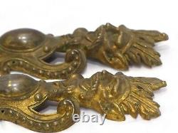 Late 19TH Large French Figural Bronze Pediment Furniture Mount Hardware Salvage