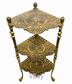 Late 19th C Antique Victorian Decorative Ornate Etched Brass 3-tier Corner Stand