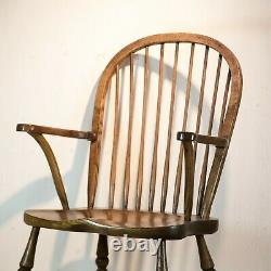 Late 19th C Oak and Elm Stick Back Windsor Chair
