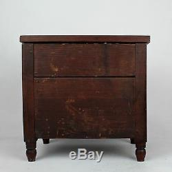 Late 19th C Pennsylvania Miniature Walnut & Pine Paneled Chest of Drawers VR