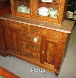 Late 19th Century 2 Pc Eastlake Victorian Walnut Buffet Kitchen Cupboard Hutch