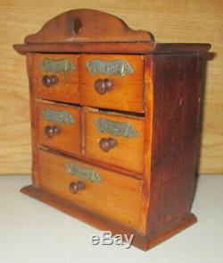 Late 19th Century Antique 5 Drawer Apothecary Spice Cabinet With Brass Labels