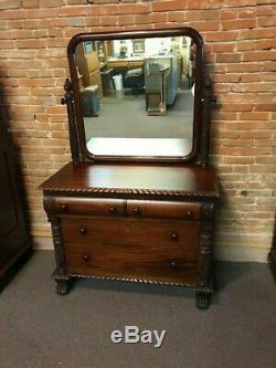 Late 19th Century Antique American Mahogany Empire Dresser With Mirror