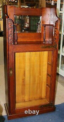 Late 19th Century Antique Carved Oak Glass Front Bookcase Cabinet With Mirror