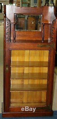 Late 19th Century Antique Carved Oak Glass Front Bookcase With Beveled Mirror