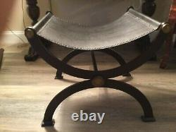 Late 19th Century Antique French Empire Wrought Iron, Brass and Leather Stool