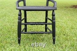 Late 19th Century Cane Chair, Restored, Matte Black (Antique Eastlake Victorian)