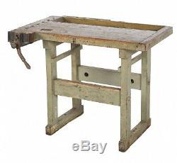 Late 19th Century Christiansen Reinforced Hardwood Factory Work Bench With Origi