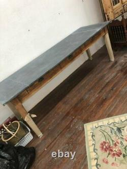 Late 19th Century French Farm house dining table with Pewter top