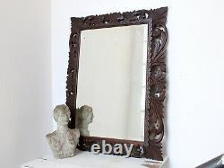 Late 19th Century French Fretwork Oak Cushion Wall Mirror