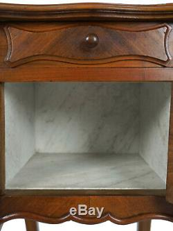 Late 19th Century French Louis XV Marble Top Pot Cabinet Nightstand