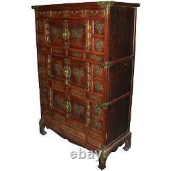 Late 19th Century Korean Tansu Elmwood Cabinet with Brass Mounts