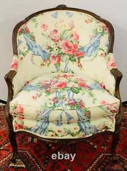Late 19th Century Louis XV French Bergere Chair, a Pair