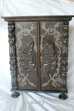 Late 19th Century Miniature Indian Inlaid Rosewood Cabinet. C1890