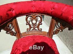 Late 19th Century Ornate Walnut Victorian Tub Tavern Pub Chair