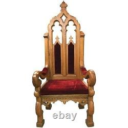 Late 19th Century Solid Oak Throne or Masonic Ceremonial Chair