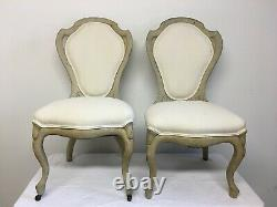 Late 19th Century Swedish Biedermeier Wood and Linen Chairs- A Pair