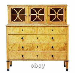 Late 19th Century Swedish Birch Art Nouveau Cabinet On Chest