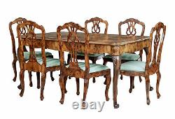 Late 19th Century Swedish Burr Walnut Dining Table And 6 Chairs