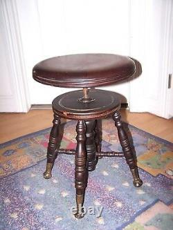 Late 19th Century Victorian Mahogany Piano Stool with Ball Glass Feet