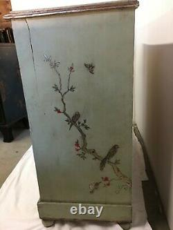 Late 19th century English Pine Chest painted Celadon Chinoiserie