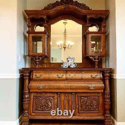 Late 19th century carved wood mirrored large antique sideboard