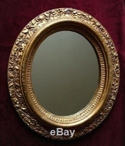 Late 19thC Art Nouveau Nasturtium Gilt Plaster Oval Frame & Mirror 44cm x 38cm