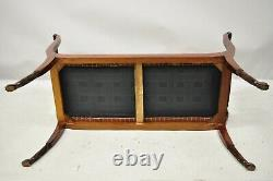 Late 20th C. Duncan Phyfe Regency Empire Style Hairy Paw Feet Brass Lyre Bench