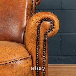 Late 20th Century Dutch Two Seater Tan Sheepskin Leather Sofa
