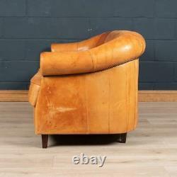 Late 20th Century Dutch Two/three Seater Tan Sheepskin Leather Sofa